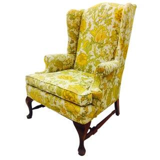 Vintage Floral Linen Wingback Arm Chair