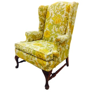 Vintage Floral Linen Wingback Arm Chair