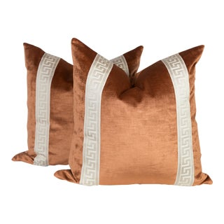 Copper Velvet Greek Key Pillows - A Pair