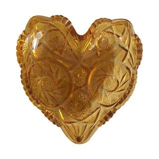 Mid Century Crystal Amber Heart Dish