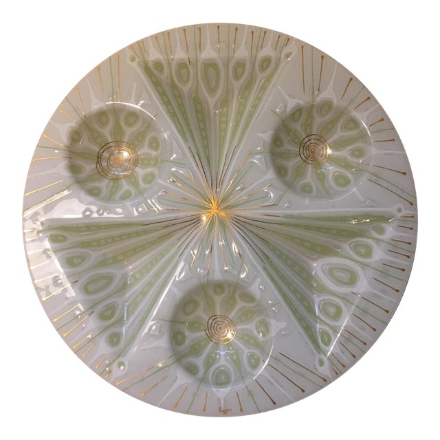 Rare Higgins Art Glass Vintage White Peacock Tray - Image 1 of 5