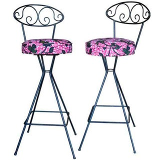 Vintage Wrought Iron Swivel Bar Stools - A Pair