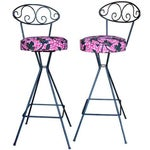Image of Vintage Wrought Iron Swivel Bar Stools - A Pair