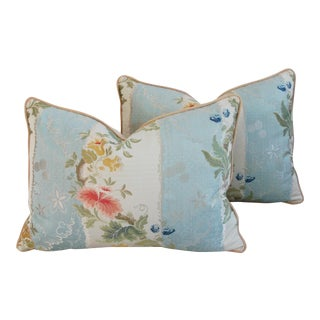 Italian Scalamandre Silk Lampas Pillows - Pair