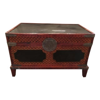 Antique Chinese Wicker Blanket Chest on Stand