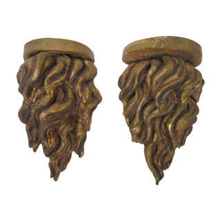 """French """"Flame"""" Wall Sconces - A Pair"""