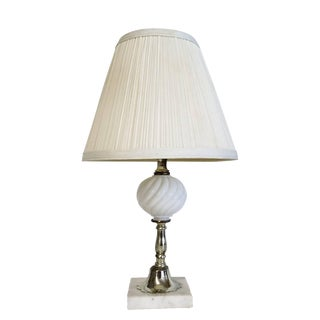 Vintage Italian White Marble Base Milk Glass Lamp