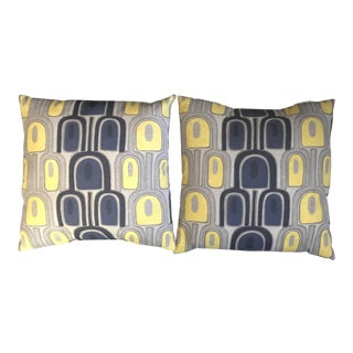 Yellow, Gray and Navy Blue Geomatric Decorative Pillows - a Pair