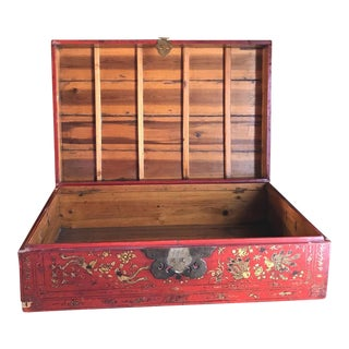 Red Asian Trunk, Vintage Wood Storage Box, Golden Roosters