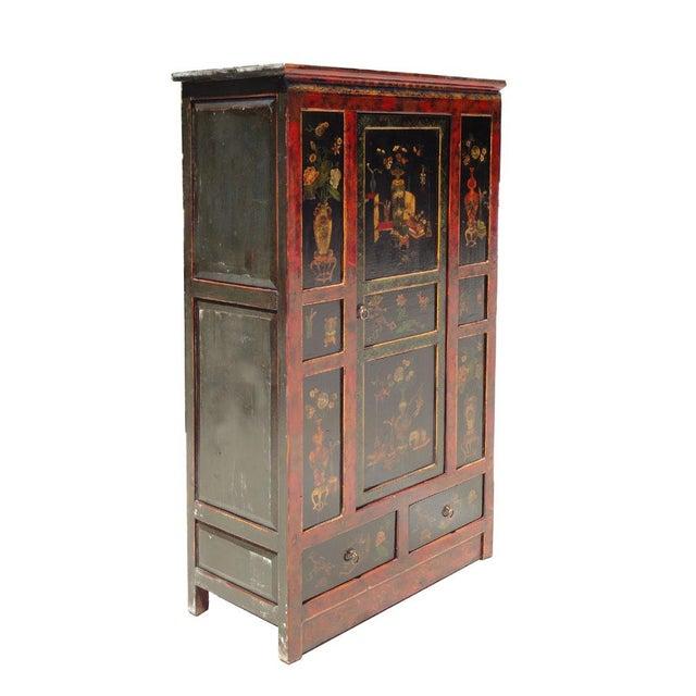 Tibetan Red Black Flower Graphic Storage Cabinet - Image 2 of 6