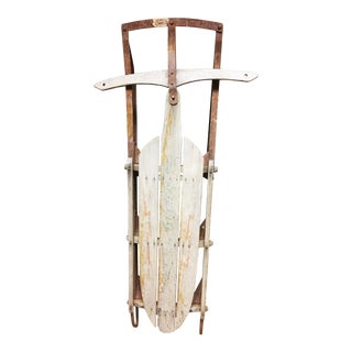 Vintage Weathered Wood & Metal Runner Sled -- Lightning Guider