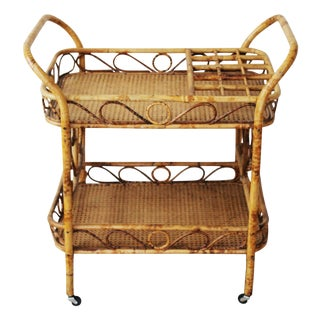 Tortoise Shell Style Rattan and Caning Bar Cart