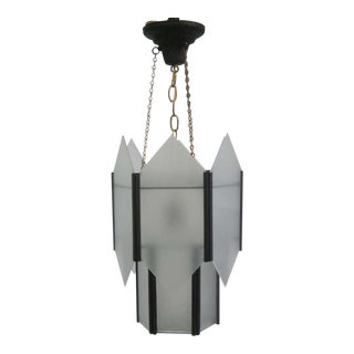 Sober French 1930s Hexagonal Chandelier or Pendant