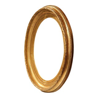 19th Century French Louis XV Carved Gold Leaf Oval Mirror