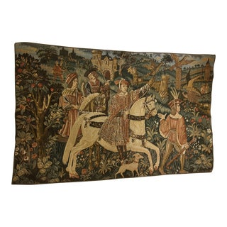 Medieval Knight & Party Belgian Tapestry