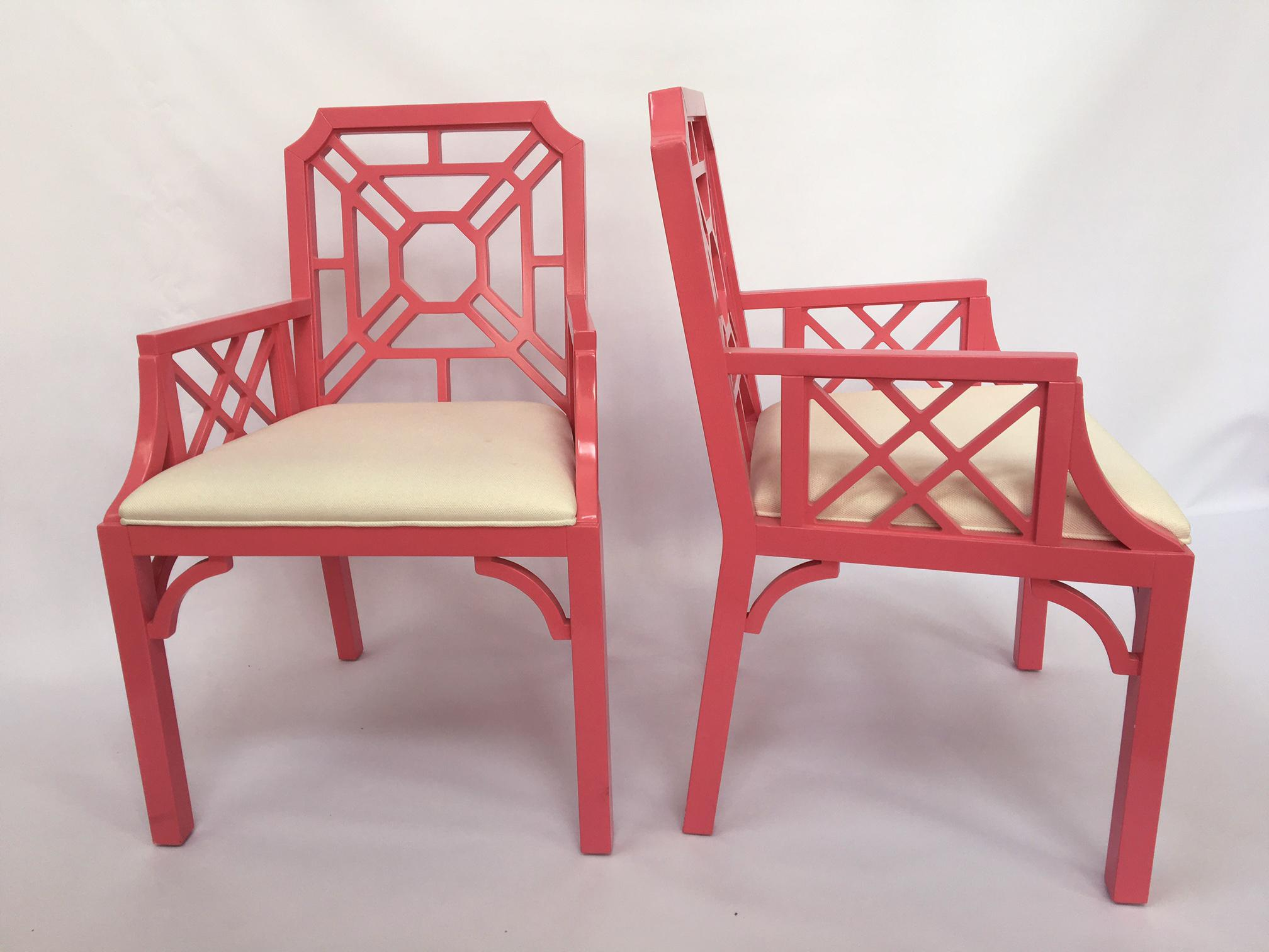 Lilly Pulitzer Pink Chinese Chippendale Chairs   A Pair   Image 2 Of 8