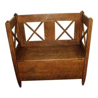 Antique Arts & Crafts Mission Oak Hall Storage Bench