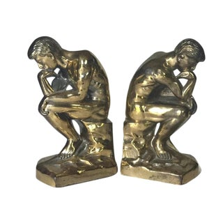 Mid Century Modern Rodin's Thinker Sculpture Bookends - A PAIR