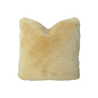 Double-Sided Golden Shearling Lambswool Pillow