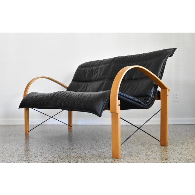 Image of Vintage Italian Bentwood Leather Sling Sofa
