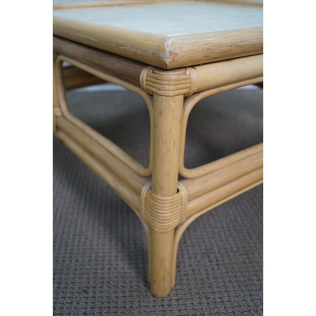 Bamboo Cane Coffee Table: Vintage Rattan Bamboo Capiz Shell Top Coffee Table