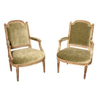 Italian Gilt Chairs with Scrolled Arms - A Pair