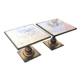 Hollywood Regency Italian Gold Leaf Tables - A Pair