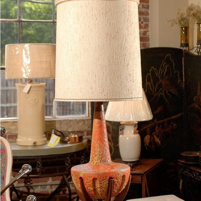 Sunset Lamps Mid-Century Orange Lava Glaze Lamp - Image 4 of 6