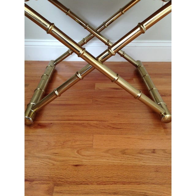 Faux Bamboo Brass & Rattan Chairs - Set of 4 - Image 6 of 6