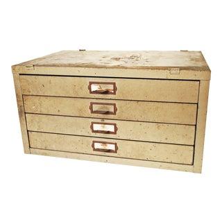 Vintage Industrial Metal 4 Drawer Parts Cabinet