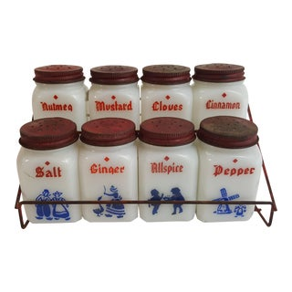 Anchor Hocking Dutch Spice Rack - set of 9