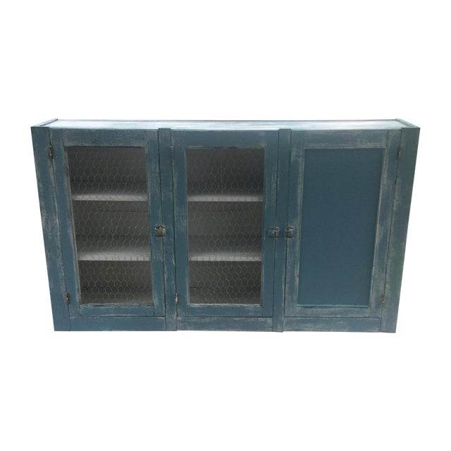 Antique Blue Wash Barn Cabinet - Image 1 of 5