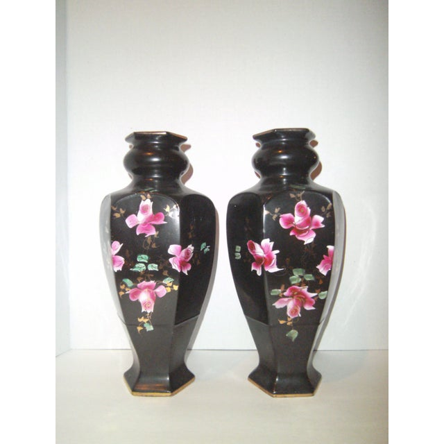 Image of Black Hand Painted Vases - A Pair