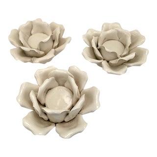 Porcelain Flower Candle Holders - Set of 3