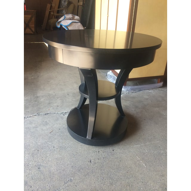 Round Black Lacquered Side Table - Image 5 of 6