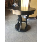 Image of Round Black Lacquered Side Table