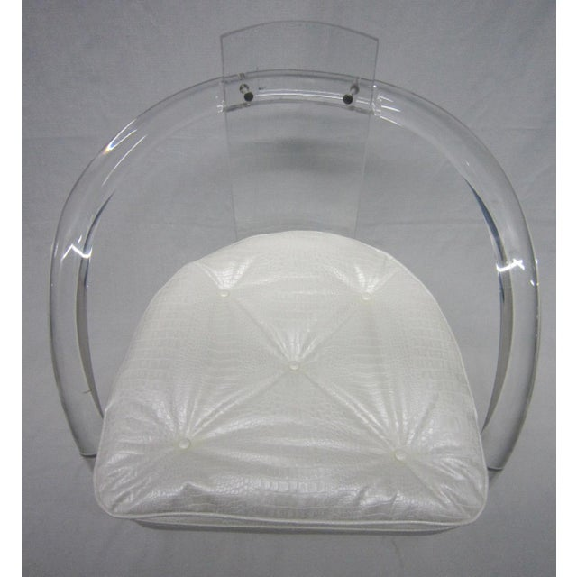 Vintage White Upholstery Lucite Chair - Image 6 of 7