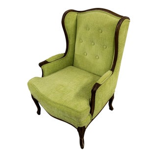 Green Reupholstered Wingback Chair