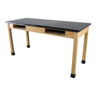 Industrial Laboratory Table, Oak with Black Epoxy
