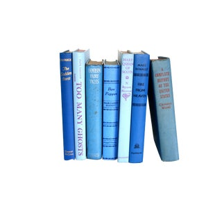 Decorative Blue Vintage Books - Set of 7