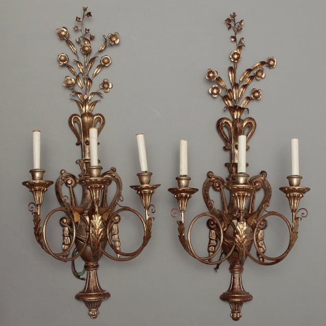 Image of Vintage Italian Giltwood and Metal Sconces - Pair