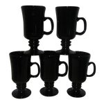"""Image of Black Milk Glass """"Libbey"""" Coffee Cup - Set of 5"""