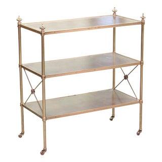 Baker Directoire Style Leather & Brass Shelf