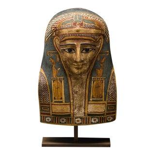 Egyptian Cartonnage Mask of a Man Wearing an Elaborate Painted Headdress