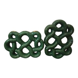 Green Ceramic Knots - A Pair