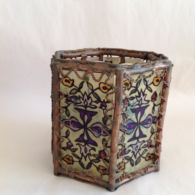 Image of Bohemian Moroccan Brass & Glass Candle Lantern