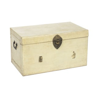 Antique Parchment Trunk in Cream