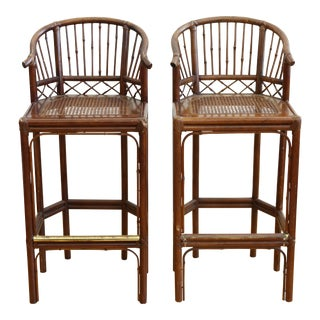 Tortoise Shell Bamboo Bar Stool Chairs - A Pair