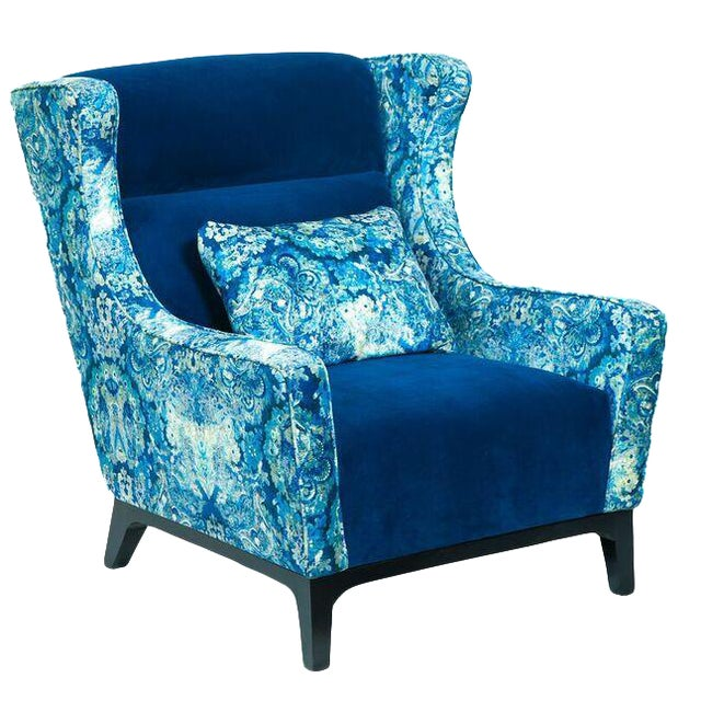 Charles Blue Mixed Media Armchair - Image 1 of 3