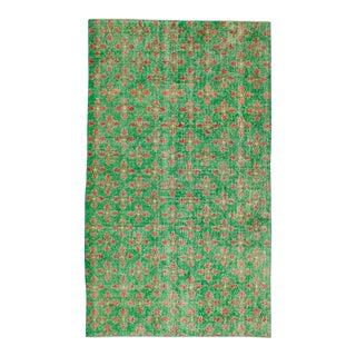 Vintage Turkish Art Deco Green Floral Rug - 4′7″ × 7′10″